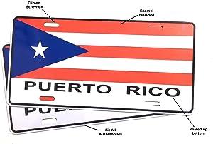 Puerto Rico Flag for Cars Puerto Rican Boricua PR License Plates for Cars Accessory Interior Accessories Boricua Coqui Sticker Decal Flag auto Truck Pickups Boats Home Style Design (2pc Value Pack)