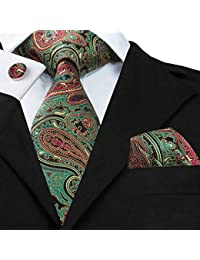 Mens Paisley Floral Tie Necktie with Cufflinks and Pocket Square Tie Set
