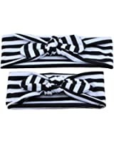 DZT1968® Parent Baby Girl Newest Stripe Elastic Turban Headband Head Wrap Knotted Hair Band