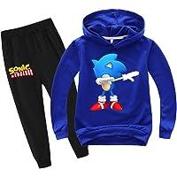 SUPFANS Conjunto de sudadera y pantalones deportivos Sonic con capucha para niños The Hedgehog