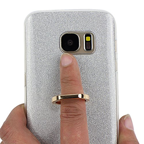 Funda Samsung Galaxy S7, Samsung G9300 Caso, Rosa Schleife Liquid Crystal Cubierta suave de TPU + Papel brillo Hybrid 2 in 1 Bling Funda Ultra Slim Premium Silicona Carcasa Funda para Samsung Galaxy S A - Plata