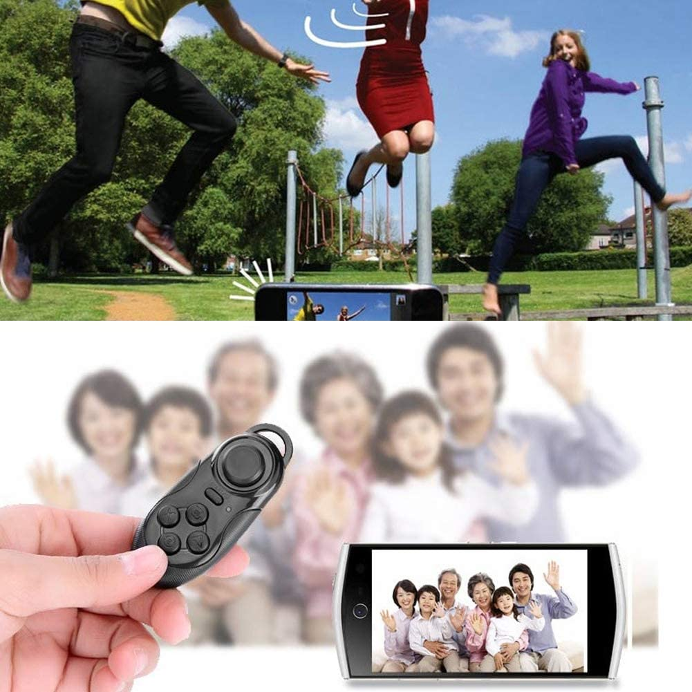 lEIsr00y Wireless VR Remote Control Selfie Shutter Bluetooth Gamepad for iOS Android Black