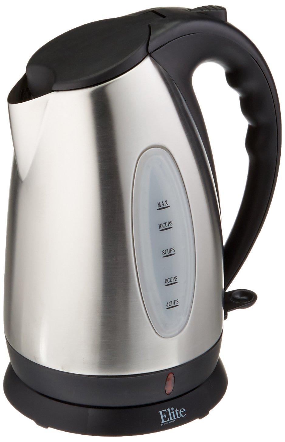 Elite Platinum EKT-1271 1.7-Liter Cordless Electric Water Tea Kettle, Stainless Steel BPA Free