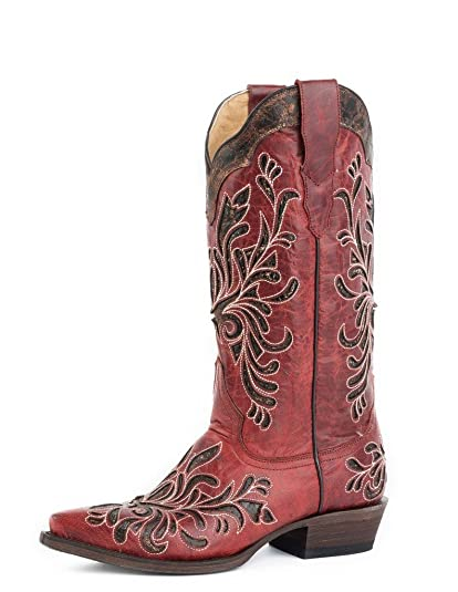 caf425ef447 Amazon.com | Stetson Western Boots Womens Fashion Snip Red 12-021 ...