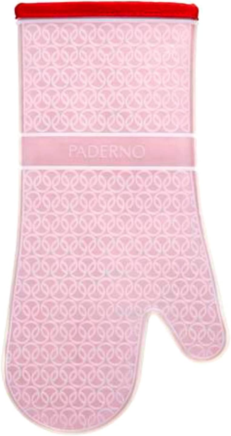 PADERNO Silicone Oven Mitt with Quilted Cotton Polyester Lining | Professional Heat Resistant Kitchen Pot Holder | 1 Mitt, Red