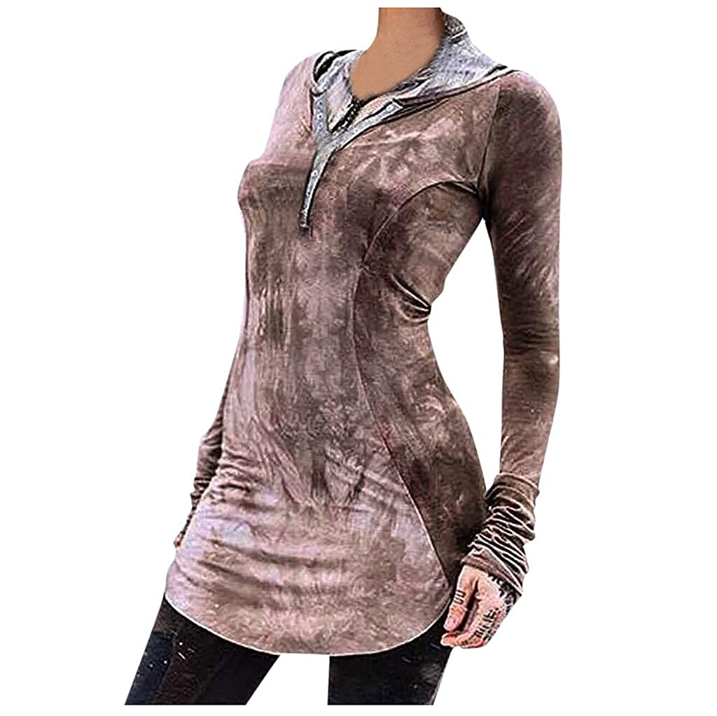 BKTOPS Women Dark V Neck Long Sleeve Tie Dye Print Hoodie T-Shirt Slim Fit Tunic Tops