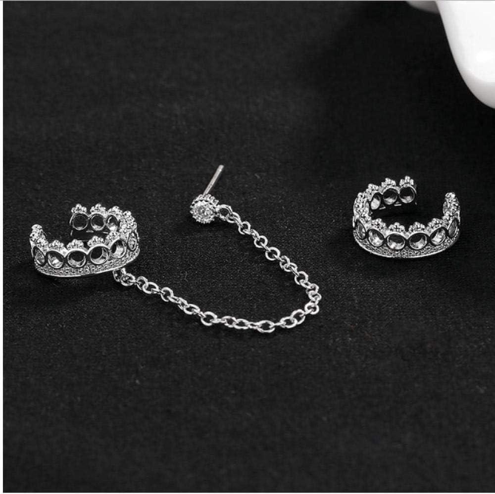 NOBRAND Ear Cuff Clip Pendiente de Cadena para Mujer Clip de Cristal en Pendientes Corea Color Plata Joyas Femme Girl Ear Cuff