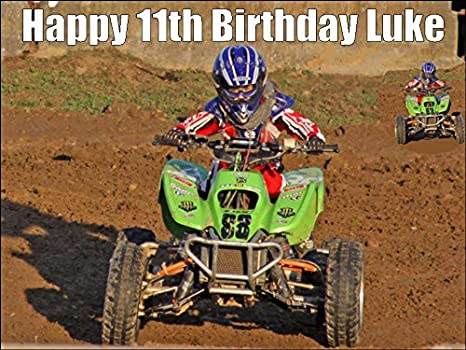 A4 Size Motocross Quad Bike ATV All Terrain Vehicle Birthday Cake Toppers Decorations Personalised On Edible