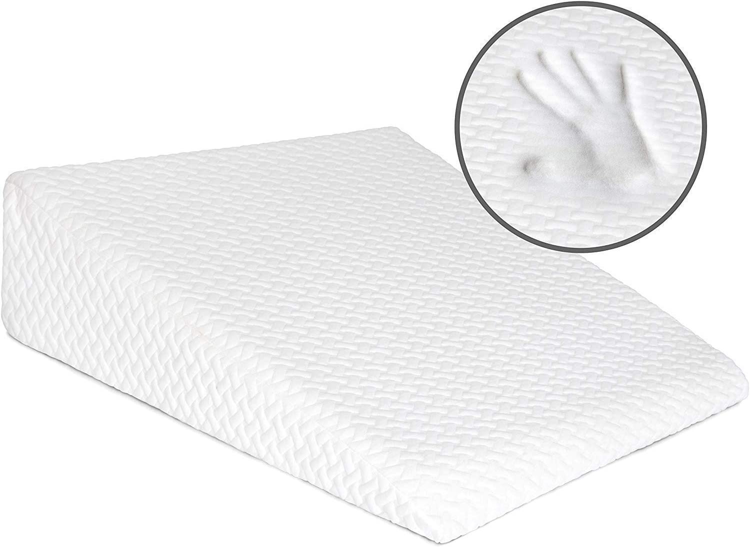 Milliard Bed Wedge Pillow with Memory Foam Top -Helps with Acid Reflux and Gerds, Reduce Neck and Back Pain, Snoring, and Respiratory Problems- Breathable and Washable Cover – 7.5 in