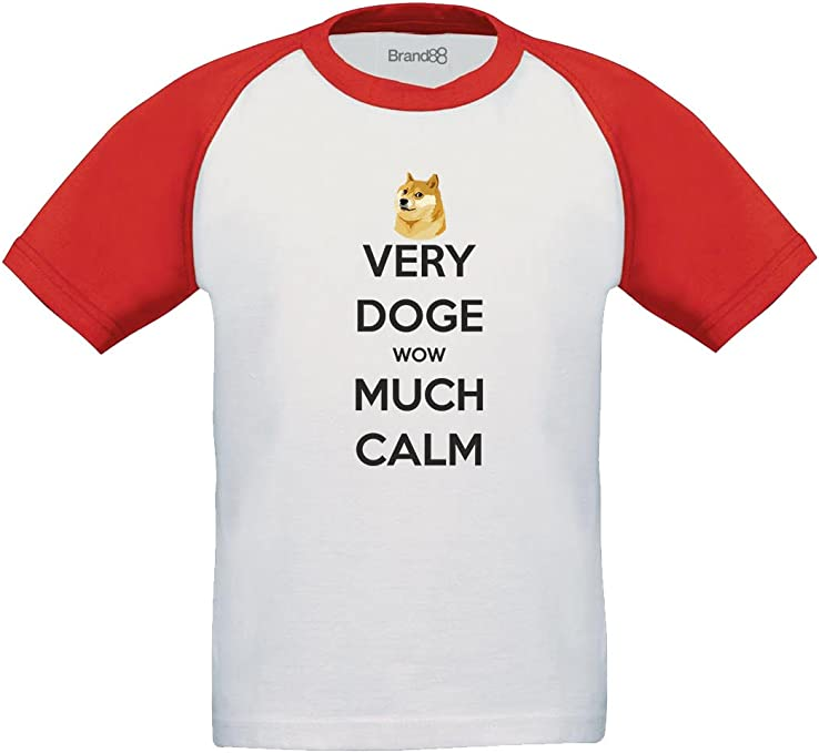 Very Doge Wow Much Calm Camiseta De Manga Corta para Niños - Blanco/Rojo/Negro 3-4 años: Amazon.es: Ropa y accesorios