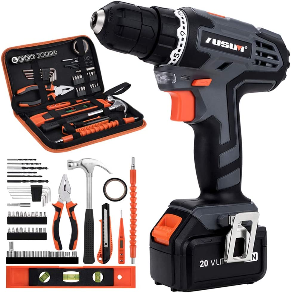 Cordless Drill Driver Kit, 20V Max Electric Drill Set Lithium-Ion Battery Driver, Fast Charger, 21 1 Clutch, 49 piece, Variable Speed Built-in LED for Drilling Wood, Metal