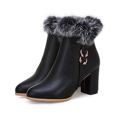 432c65b71f2b Fashion Ankle Boot Women Block High Heel Trend Rhinestone Faux Leather  Round Toe Fur Lining Snow