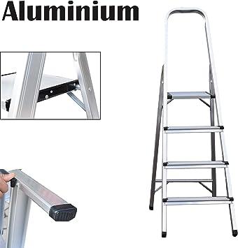 Escalera de 4 peldaños, escalera plegable de aluminio, portátil ...