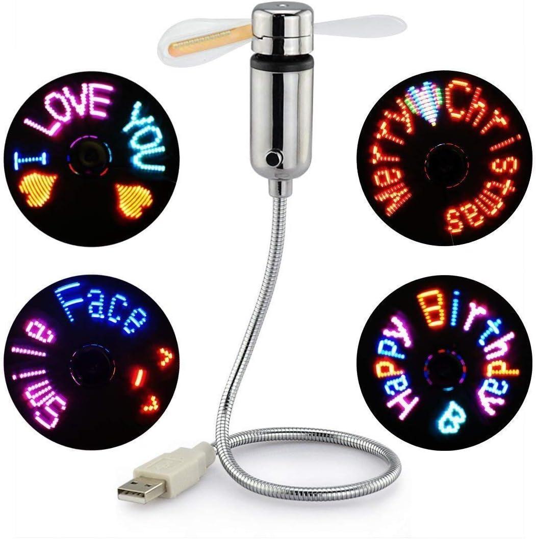 USB LED RGB Programmable Fan, SAYTAY Mini Flexible USB Gooseneck Programmable Fan for PC Laptop Notebook Desktops (New RGB Version) (RGB)