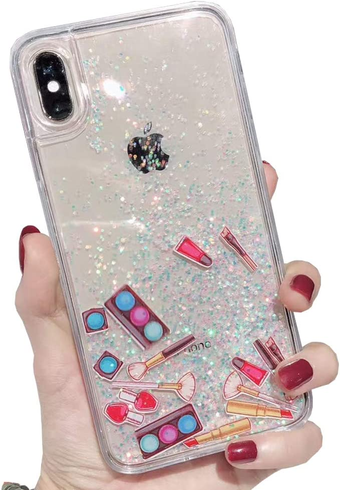 SGVAHY Liquid Quicksand Case for iPhone Xs Max, Glitter Shinny Sequins Cosmetic Patterned Soft TPU Bumper Hard Back Shockproof Protective Case for iPhone Xs Max. (Cosmetics Blue, iPhone Xs Max)