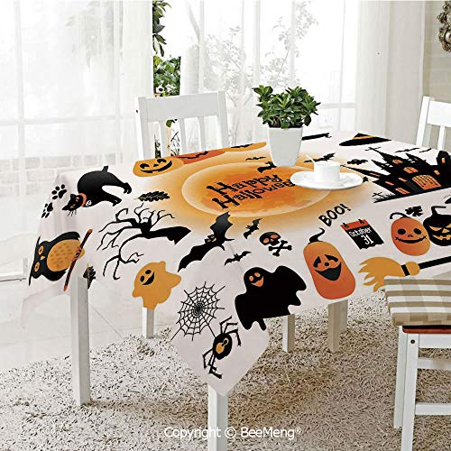 BeeMeng Large Family Picnic Tablecloth,Easy to Carry Outdoors,Halloween Decorations,All Hallows Day Objects Haunted House Owl and Trick or Treat Candy,Orange Black,59 x 104 inches -