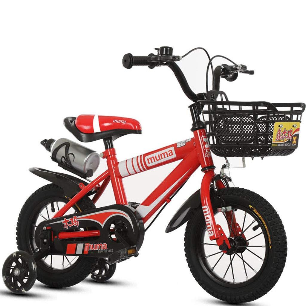 子供の自転車2-3-4-6-7-8-9-10歳の男性と女性のベビーカー12/14/16/18インチ子供自転車自転車+高炭素鋼フレーム+フラッシュアシストホイール (調節可能な高さ) 18in red B B07PJ3RWLG