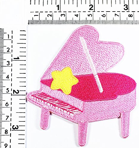 Pink Grand Piano star music punk rock song kids cartoon patch Applique for Clothes Great as happy birthday (Great Halloween Songs Rock)