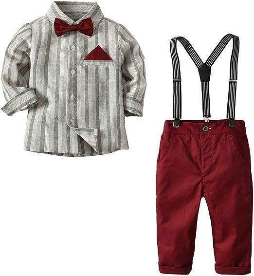 Conjunto de para Bebé Niño Camisa de Manga Larga + Corbata de Lazo+ Pantalones con Tirantes Traje de Bautizo: Amazon.es: Ropa y accesorios