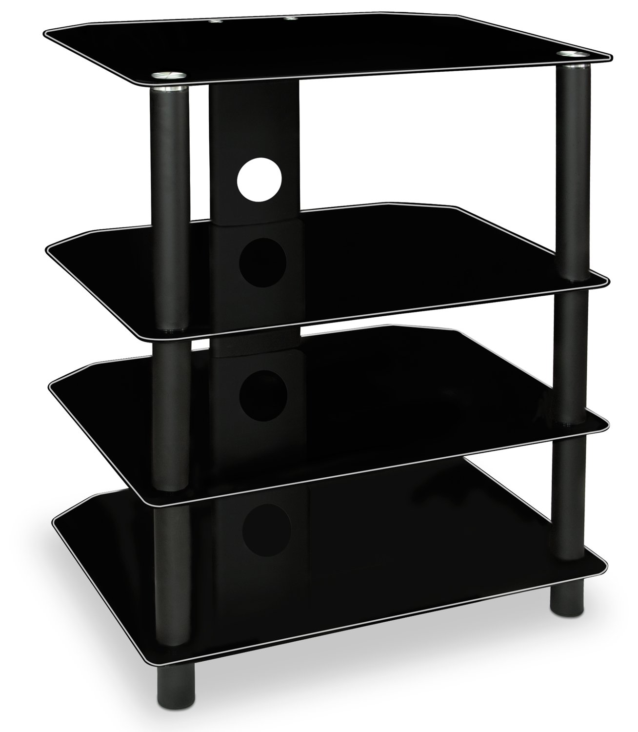 Mount-It! AV Component Media Stand, Audio Tower and Media Center with 4 Tempered Glass Shelves, 88 Lbs Capacity, Black Silk (MI-867) by Mount-It!