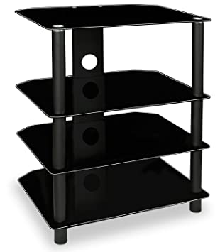 mountit tv media stand glass shelves audio video components storage