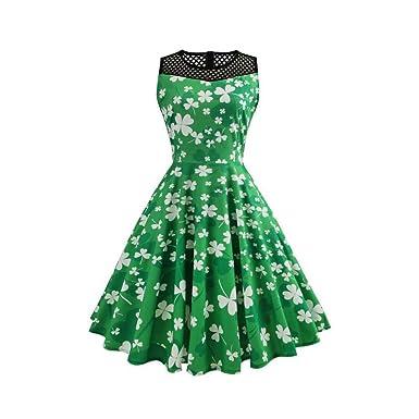 2c19590f97c  St Patricks Kleid für Damen  Kleeblatt Kleid Ärmellos Swing Kleid  Festliche Partykleid St Patricks Day Damen Kleid  Amazon.de  Bekleidung