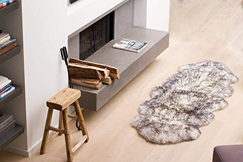 Natural Luxury Soft Premium Quality Durable Thick Lush New Zealand Sheepskin Wool Fur Area Rug, 2 ft x 6 ft, Gradient Grey