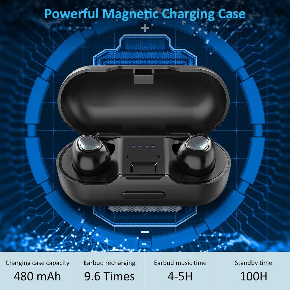 Babacom Auriculares Bluetooth, Mini Auriculares Bluetooth Inalámbricos Twins con Total 19 Horas Reproducción, 3D Sonido Estéreo con Bajo, Auriculares Prueba ...