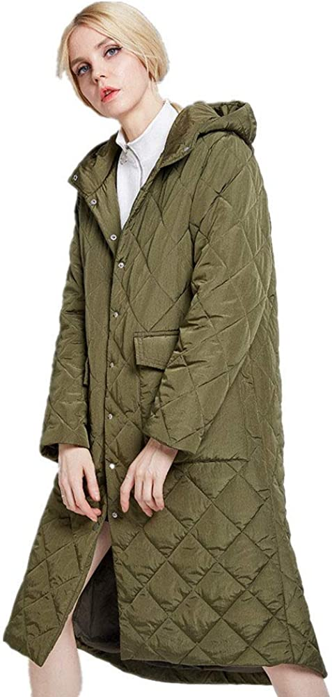 Classic Wild Womens Winter Long Section Down Jacket Classic Plaid Hooded Cotton Coat Warm Jacket