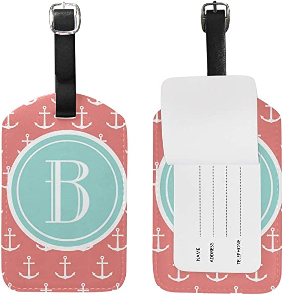 Set Anchor Wavy Stripes Luggage Tags Bag Travel Labels For Baggage Suitcase