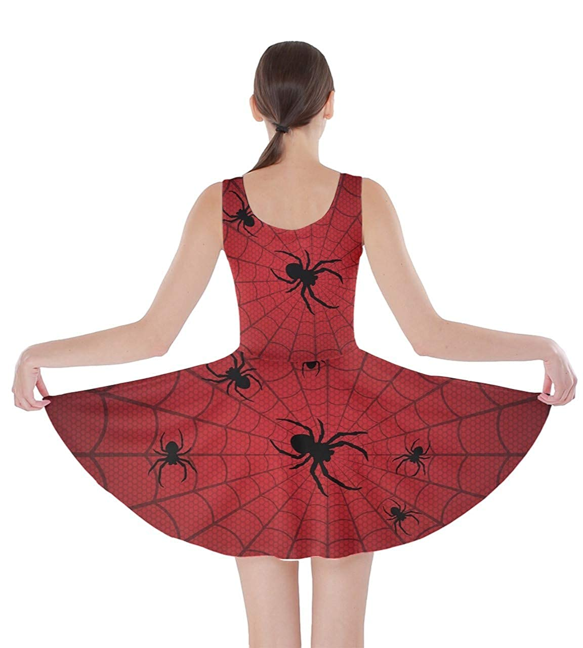 2bc1019fbe542 CowCow Womens Halloween Spider Web Pattern Bats Party Skater Dress, XS-5XL  at Amazon Women's Clothing store: