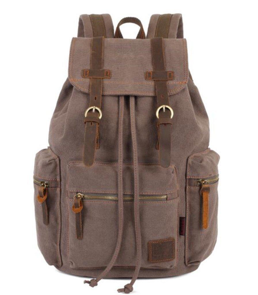 Bagtopia Vintage Men Casual Canvas Leather Backpack Rucksack Satchel Hiking Bag Light Coffee