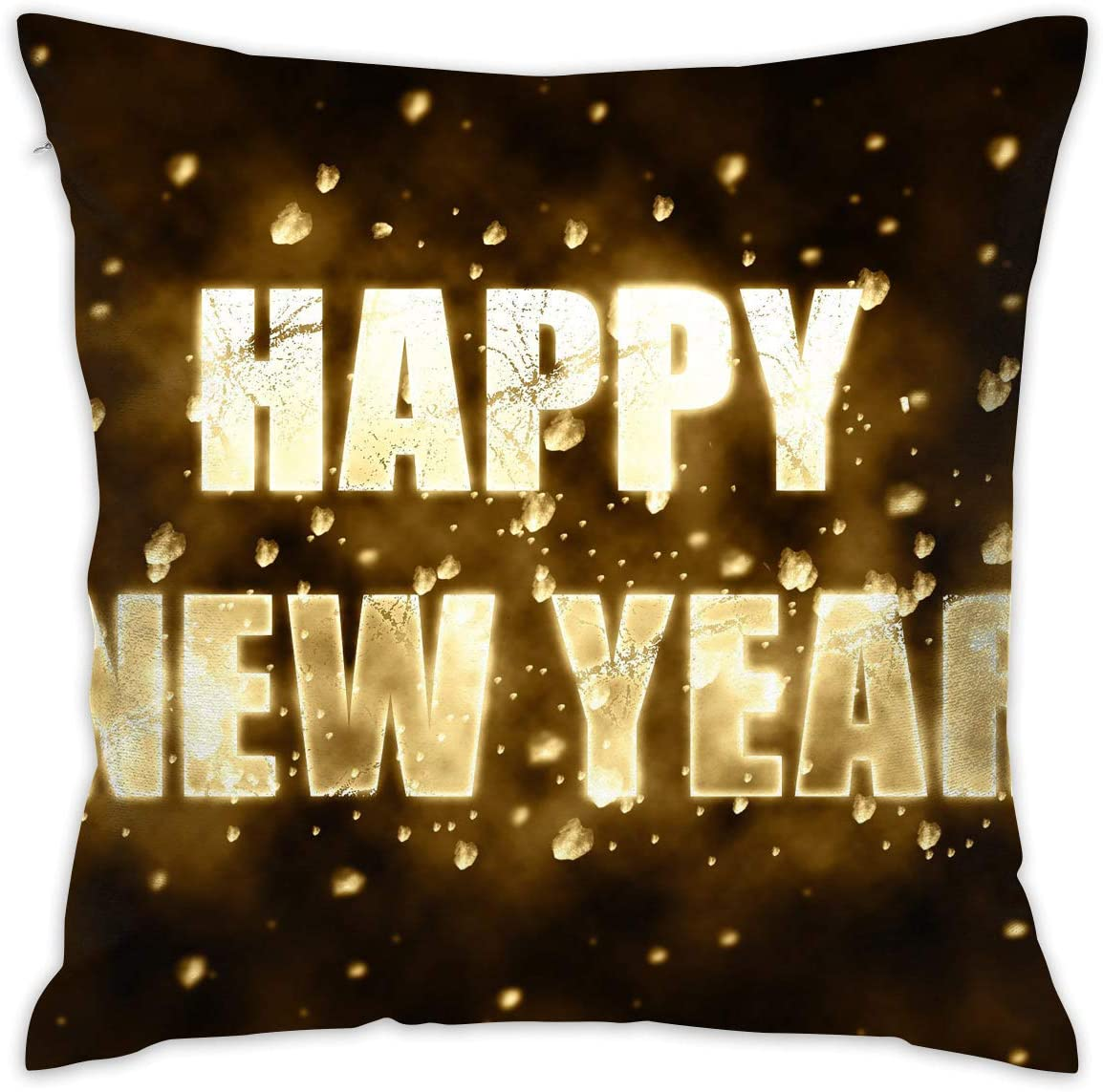 Karen Felix Throw Pillow Covers Gold Happy New Year Decorative Cushion Case for Sofa Bedroom Car 18 X 18 Inch 45 X 45 cm