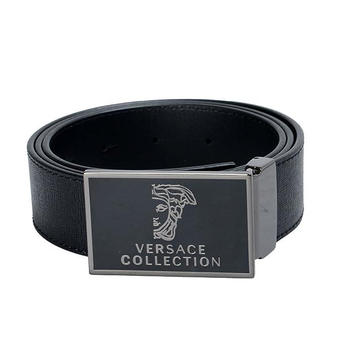 design senza tempo 95daf e6e02 VERSACE Collection cintura uomo in pelle nero fibbia ...