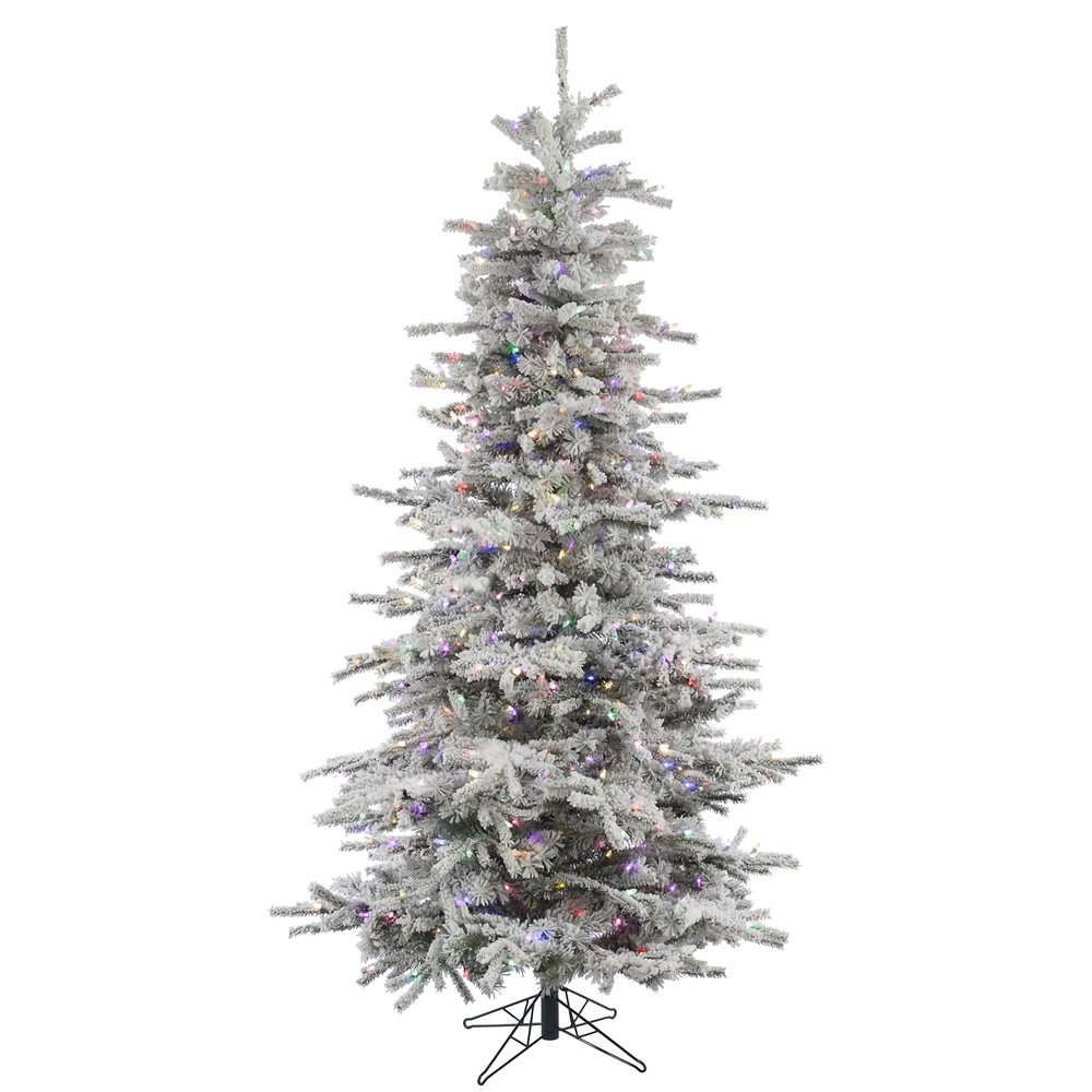 Vickerman A862082LED Flocked Slim Sierra Tree with 1564 Pvc Tips and 850 Italian LED Lights, 8.5' X 58