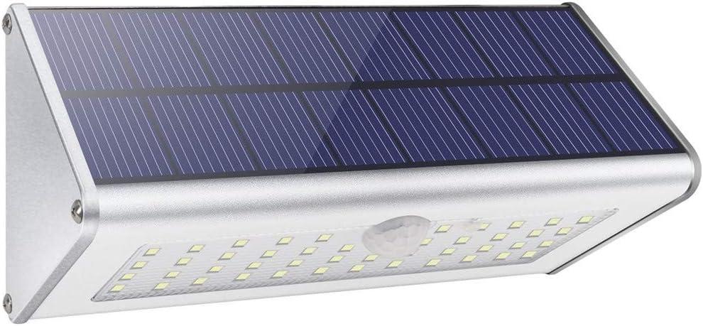 Solar Outdoor Muro De Seguridad Luces Preferled 4500mAh 1100lm 46 LED Sensor De Movimiento Inalámbrico Infrarrojo Plateado De Aleación Aluminio Impermeable Noche Para Jardin Calle Patio Reja Entrada