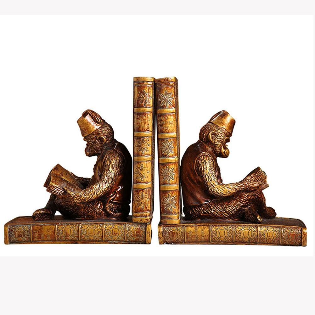 LPY-Set of 2 Bookends Resin Monkey Reading Style Handicrafts, Book Ends for Office or Study Room Home Shelf Decorative
