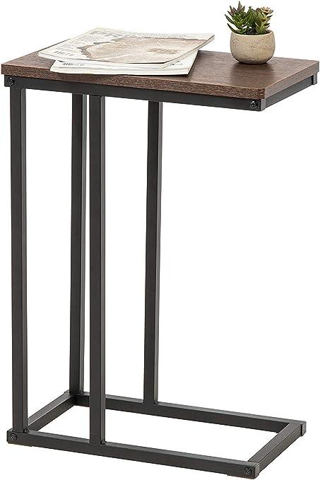 45 x 25.4 x 63.7 cm Unique Iris Ohyama C- Shape Side SDT-L Brown//Black dappoint//Bout de canap/é//Desserte de lit en Bois MDF et m/étal-C-Shaped End Table-Brun et Noir Marron