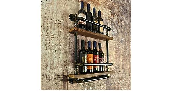 JJZSJ Loft Retro Hierro Madera Maciza Vino Tinto Estantería Simple Creativo Murales Objetos Colgantes Bares Bar Bar Bar Vino Cabinet: Amazon.es: Hogar