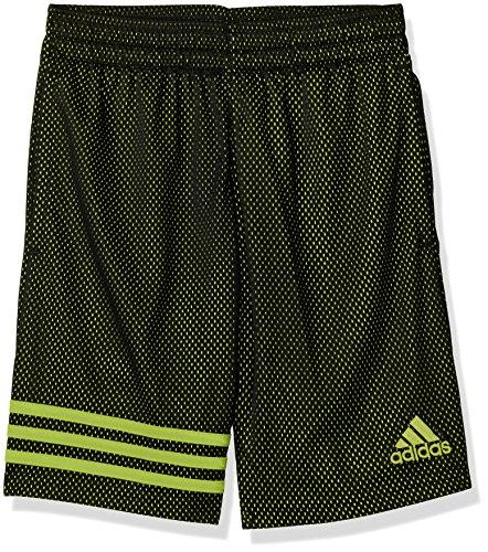 adidas Boys Big Athletic Short, Black/Yellow, M (10/12)