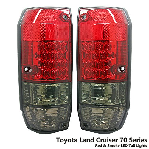 1 Pair Rear Crystal Red & Smoke LED Tail Light Lamp Fit Toyota Land Cruiser 70 75 78 4 Door 84-07 (Led Land Cruiser Toyota)