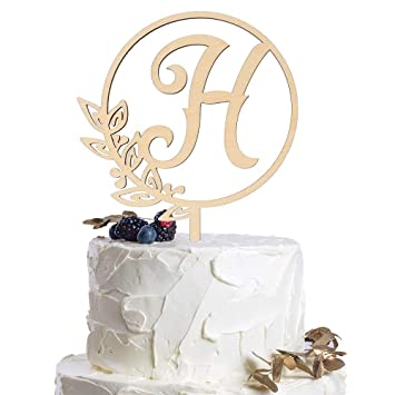 letter h personalized initial wood cake topper monogram wedding anniversary birthday vow reveal party decoration supplies