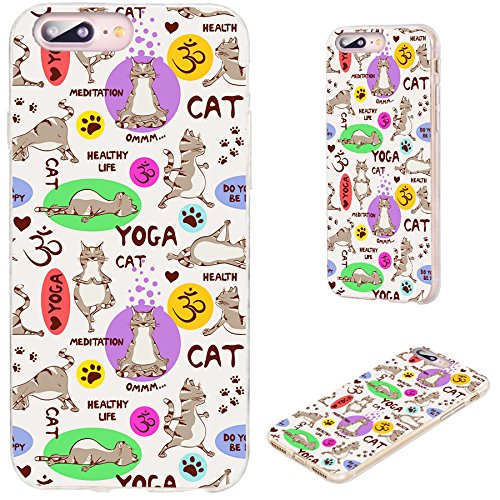 iPhone 8 Plus Case,iPhone 7 Plus Case,VoMotec [Original Series] Anti-Scratch Ultra Thin Flexible Soft TPU Full Protective Cover Case for iPhone 7 8 Plus 5.5 inch,Funny Cartoon Gray cat Doing Yoga