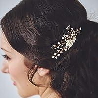 Jovono Bröllop hårkam brud huvud tillbehör huvudbonad med pärlor för kvinnor och flickor (guld)