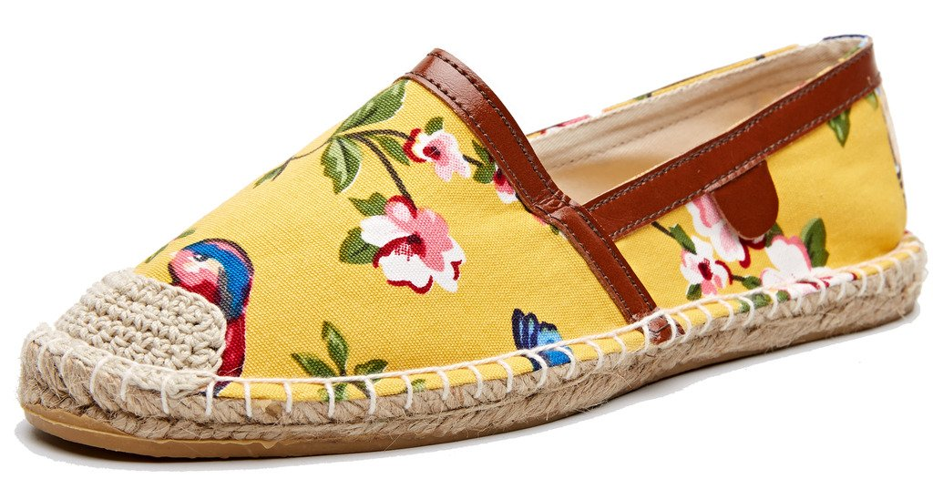 U-lite Printed Foral Canvas Espadrilles Women Shoes Slip-On Loafers Yellow Bird 8