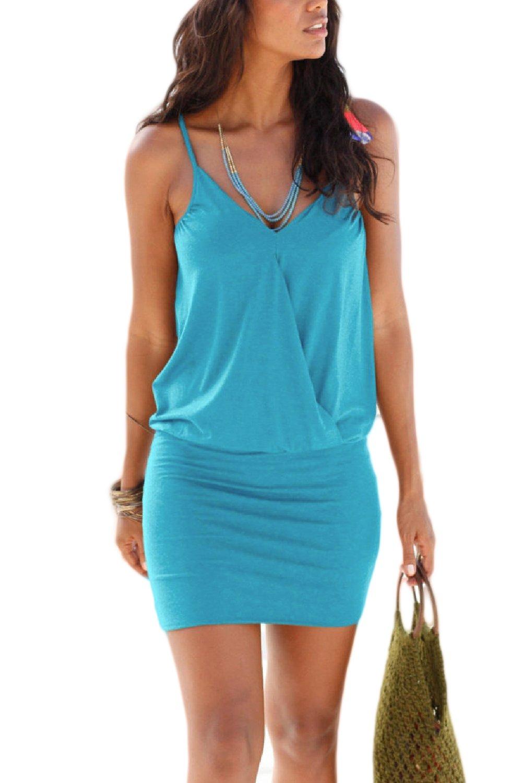 Women's Summer V Neck Spaghetti Straps Casual Beach Wrap Dress CANZ068