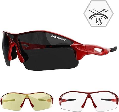 Velochampion Warp Ciclismo Conducción Mtb Gafas de Sol Híbridas Correr Gafas Deportivas Protección Uv400 y 2 Lentes de Repuesto Incluidos (Rojo): Amazon.es: Zapatos y complementos