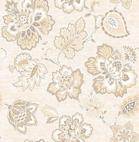 Wallpaper Designer Gray Beige Cream Jacobean Paisley Floral on Cream Faux
