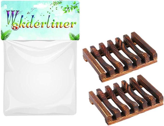 Wskderliner 2 Piezas Jaboneras Esponja de jab/ón de Madera Hecha a Mano Esponja para Fregar jab/ón de Madera Esponjas para ba/ño Ducha