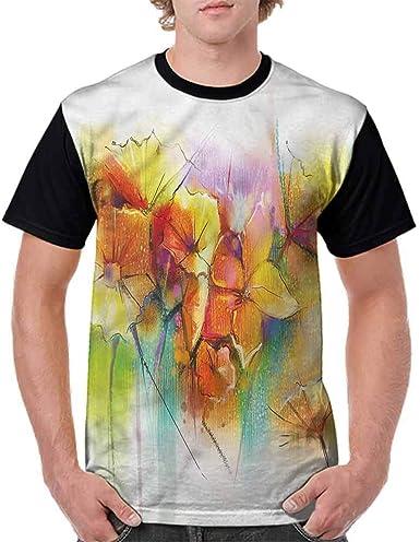 BlountDecor Loose T Shirt,Collection of Flowers Fashion Personality Customization